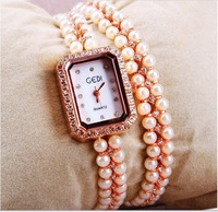 Free shipping, High quality fashion luxury women pearl rhinestone dress quartz watches.