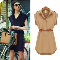 New 2014 Fashion Elegant Women Clothing Ladies Polo Neck Cap Sleeve Chiffon Casual OL Shirt Dress With Belt Plus Size 0577