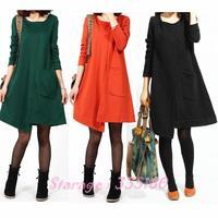 M-XL 2014 New Autumn Big Size Korean Ladies Cotton Long Sleeve Irregular Hem Loose Maternity Dresses Black/Green/Orange 9020