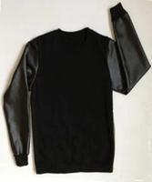 Man 2014 A$AP asap Rocky ktz O-neck PU Leather Crewneck Sweatshirt/ Faux Leather Sweatshirt/ Hiphop Streetwear S-XXL