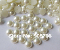H0217 Semicircle pearl flat back buttons 300pcs 10mm ivory color (pearl white) DIY Jewelry Acessory
