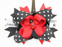 12 pcs/Lot, 2014 Fanshion Boutique Dot Ladybug Hair Clips, Free Shipping
