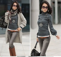 2014 Autumn Women European Sweet Style Turtleneck Lantern Sleeve Brief Button Decorated Pullover Sweater