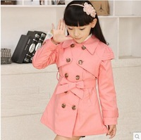 Hot selling 2014 newest arrival girl children fashion princess overcoat kids autumn pink casual trench C2124