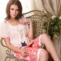 Twinset 2014 Summer Pijamas Women Cotton Short Sleeve Pants Knitted Pajamas Women Casual Cute Sleepwear Shorts Nightgown