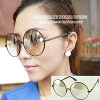 Oversized circular frame plain mirror metal alloy glasses 389 11