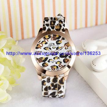 New Fashion Leopard print Band Woman Quartz Watches GENEVA Silicone Lady Girl Wristwatch 30pcs/lot 2colors DHL/EMS Free Shipping