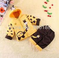 2014 New baby winter clothing sets, infant suits, kids boys girls winter thick fleece suits,cartoon giraffe coat hoodies+ pants