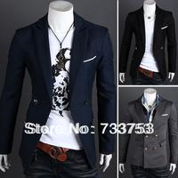 20134autumn two button stand collar color block unique men's casual suit outerwear supreme sweatshirts coat Free shipping