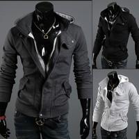 FREE SHIPPING,High Collar Men's Jacket Top Brand ,Men's Dust Coat Hoodies Clothes sweater/overcoat/outwear 3[3117]