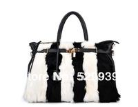 Soft natural fur black and white stripes bag high fashion designer brands for handbags 2014 women bolsas in china free shipping