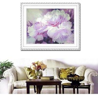 DIY 100% Printed Silk Thread  Unfinished Cross Stitch Pattern Sets Embroidery Kits-Dreaming Peony,Full  Embroidery