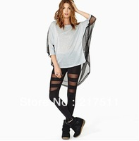 Free Shipping New Arrive Sexy Women Leggings Fashion Sheer Mesh Patchwork Elastic Slim Waist Hot Vogue Full Pants Black 090907
