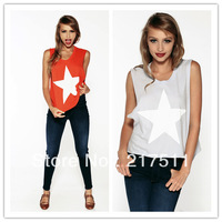 Free Shipping New Arrive Brief Casual Cotton T-shirts Women Shining Star Print Loose Strapless Solid Color Round Neck Tops1442