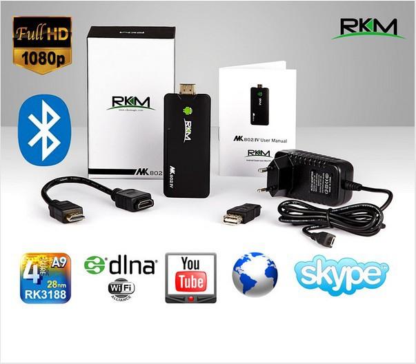 New arrival !!!!Rikomagic MK802IV Quad core Android 4.2 Rockchip RK3188 2G DDR3 8G ROM Bluetooth HDMI TF card(China (Mainland))