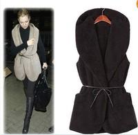 New Free shipping Faux Fur Trendy Classic Winter White Black GrayWomen plush Hoodie Vest Cardigan Coat Boots Outerwear + Belt