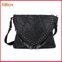 2 Sizes!! Women's Handbag Black Sheepskin Patchwork Bag 2015 Rivet Lady Tassel Genuine Leather Handbags Fashion Branded