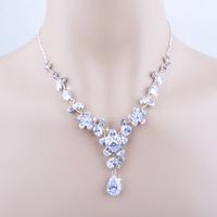 Christmas Hot Sale Elegant Korean Bijoux High Quality Austrian Crystal Zircon Flower Wedding Party Necklace Earrings Jewelry Set
