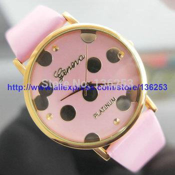 New Fashion Ladies Women Quartz Dress Wristwatches Leather Geneva watches Gold Polka Dots Girl Watch Christmas Gift