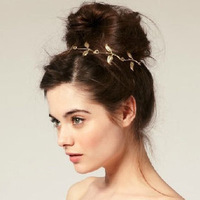 Free shipping 2014 new hair jewelry british punk romantic olive branch five leaves decorate hip ribbon hairband headband elastic