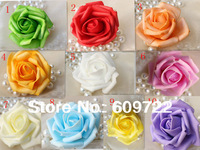 2013 Free Ship 7 cm PE Real Touch Artificial Rose Flower Head Pink 10 Color in Valentine 's Day FL1109