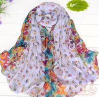 10Pcs White Fashion Women Cotton Linen Rural Style Flower Beautiful Long Silk Scarf Shawl K01097