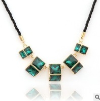 Square crystal   pendant retro short necklace