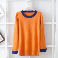 2013 autumn classic all-match color block color block decoration o-neck slim knitted sweater free shipping