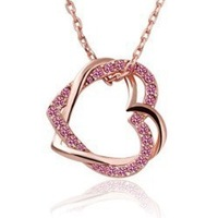 Fashion Accessories Spirally-wound Full Rhinestone Double Heart Necklace