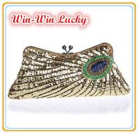 New Fashion Women's Handbags. Peacock Feather Pattern Sequins Beaded Bridal Clutch Purse. Chain Evening Bag Shoulder Messenger