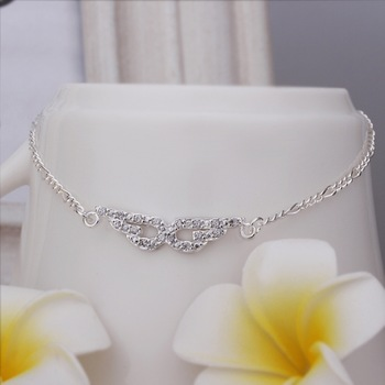 Christmas Gift!!Wholesale 925 Silver Anklets Fashion Sterling Silver Jewelry,Eye-shaped insets Anklets SMTA004