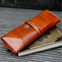 3432 Min order $10 (mix order) free shipping creative  retro leather  twilight high capacity pencil case bind type cosmetic bag