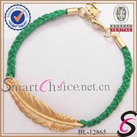 50pcs/Lot 18K Gold Filled Leaf Shaped Charm Waxed String Bracelet Friendship Bracelet