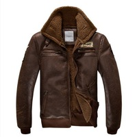 2013 Military Style Turn-down Collar Fur Inside Pilot Fashion Men Vintage Leather Jackets Winter Outerwear Coat For Men