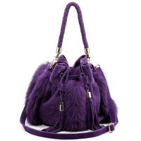 Free Shipping! pure fur women's handbag leather bag purple one shoulder cross-body women's bag tassel bag