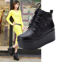 Y002-3 Cool Genuine leather Cow Leather Black Fashion Ankle boots High Platform Sexy Women Boots