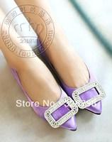 Luxury rv 2013 single crystal tube big rhinestone side buckle pointed toe flat shoes