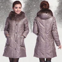 2013 Winter New Women's large Raccoon Fur Collar Thickening White Duck  Down coat  Plus size 7XL Women down jacket winter  WP026