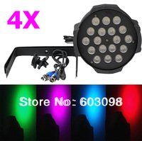 4pcs 18X10W LED PAR LIGHT RGBW 4in1 Tri LED Par Can DMX PAR64 QUAD LED PAR Lighting Fast shipping