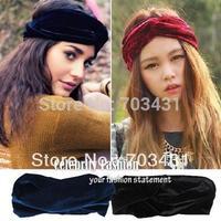 2014 New Woman Celeb Style Neon Headband Vintage Double Stretch Velvet Turban Headwrap Winter Bandanas Headware Free Shipping