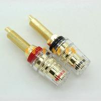 4PCS Gold plated audio Speaker 5 way binding post long thread banana plug terminals