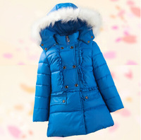 Child down coat medium-long female child big children's clothing down coat thickening female child down coat