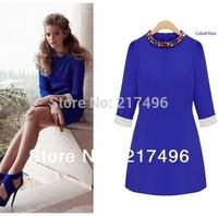 Women dress Europe 2014 autumn fashion hot style temperament Slim lady elegance beaded round neck long Sleeve Dress