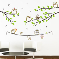 Free shipping owl cartoon child real tv backdrop home decoration wall stickers
