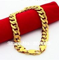 HB17 9mm Cable chain bracelets / men's bracelets 24k gold plated bracelets /bangles for men / men's jewelry