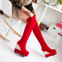Winter boots women The trend of fashion red married high heel wedges wedding boots long boots shoes