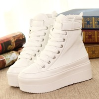 Vogue of new fund of 2014 during the spring and autumn platform shoes PU leather lace-ups ultra-high help single shoes