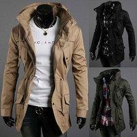 2015 Men's turtleneck trench Coat Men Slim fit Cotton Jacket Fashion Multi Pocket Casual long trench coats for men Asia S-XXL
