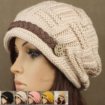 Hot Sale Women's Kintting Wool Warm Hats Casual Solid Hat Cap Winter Girl Fashion Hats for Girls