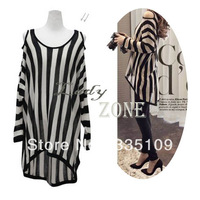 New Women's Fashion Vertical Loose Off Shoulder Long Sleeve Knitting Shirt Stripe Dress 11912